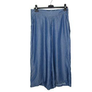 H by Halston Chambray Wide Leg Cropped Pants M